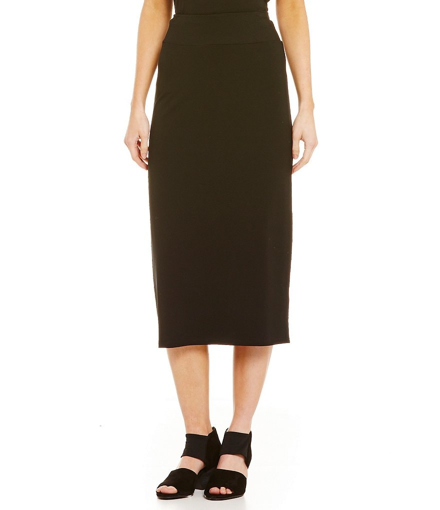Eileen Fisher Viscose Jersey Mid Length Straight Skirt