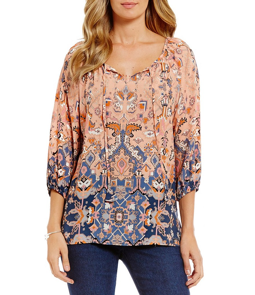 Ruby Rd. Split-Neck Tapestry Placement Print Peasant Top