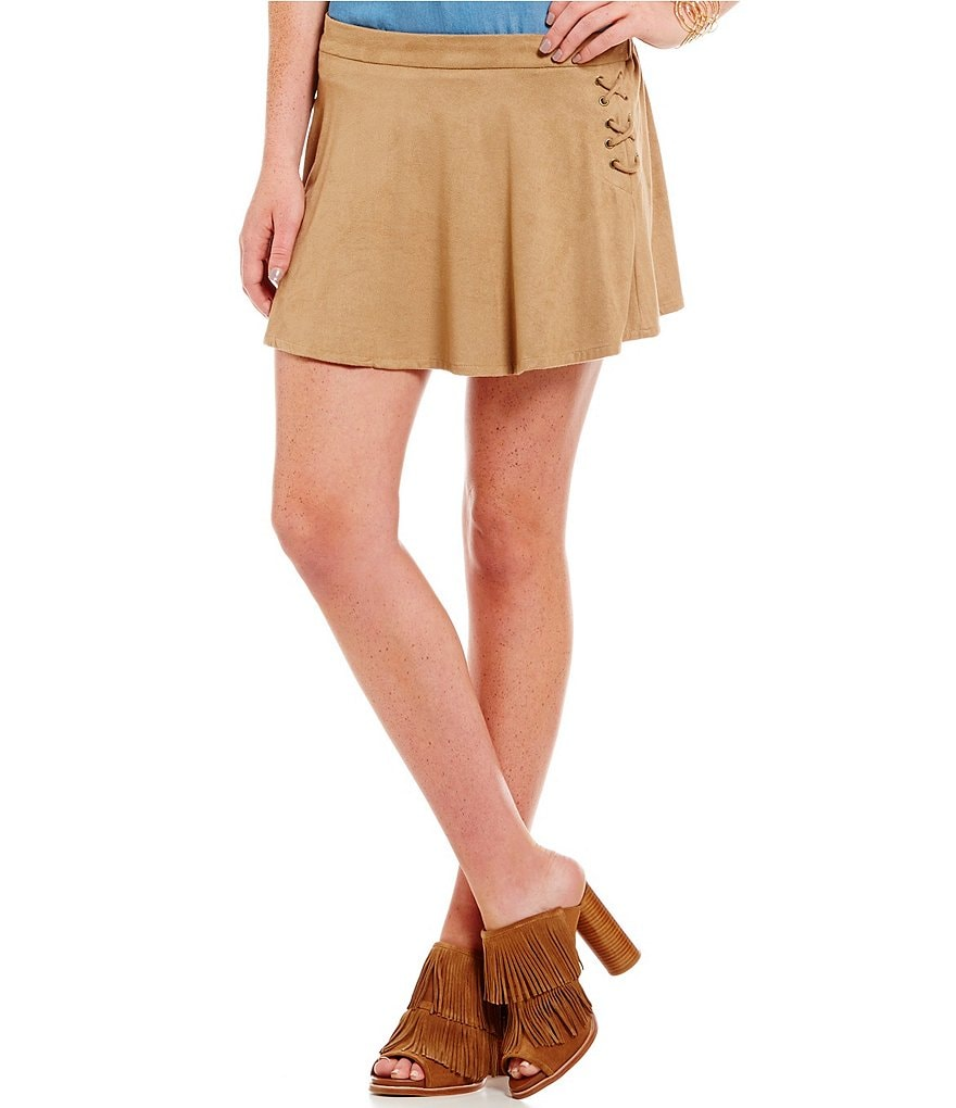 Soulmates Faux-Suede Lace-Up Side Skirt