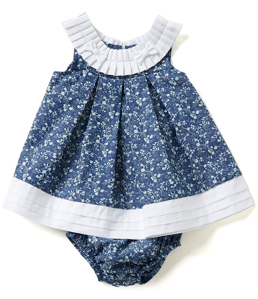 Bonnie Baby Girls Newborn-24 Months Ditsy Floral Chambray Dress