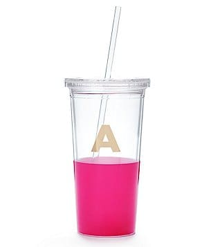 kate spade new york Color-Dipped Initial Tumbler with Straw