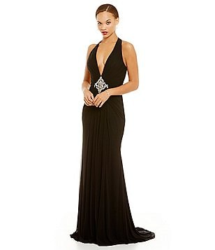 Lasting Moments Deep V Jersey Beaded Back Gown