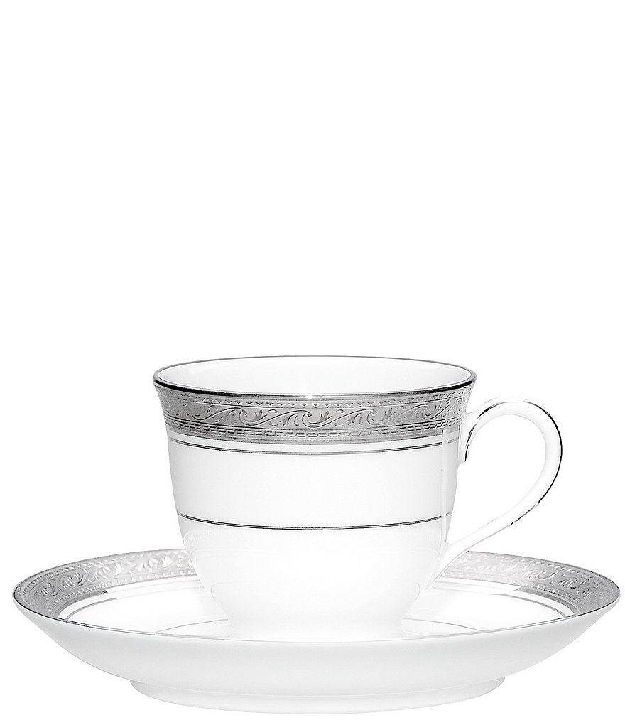 Noritake Crestwood Etched Platinum Porcelain After Dinner Cup & Saucer Set