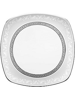 Noritake Crestwood Etched Platinum Porcelain Square Accent Plate Image