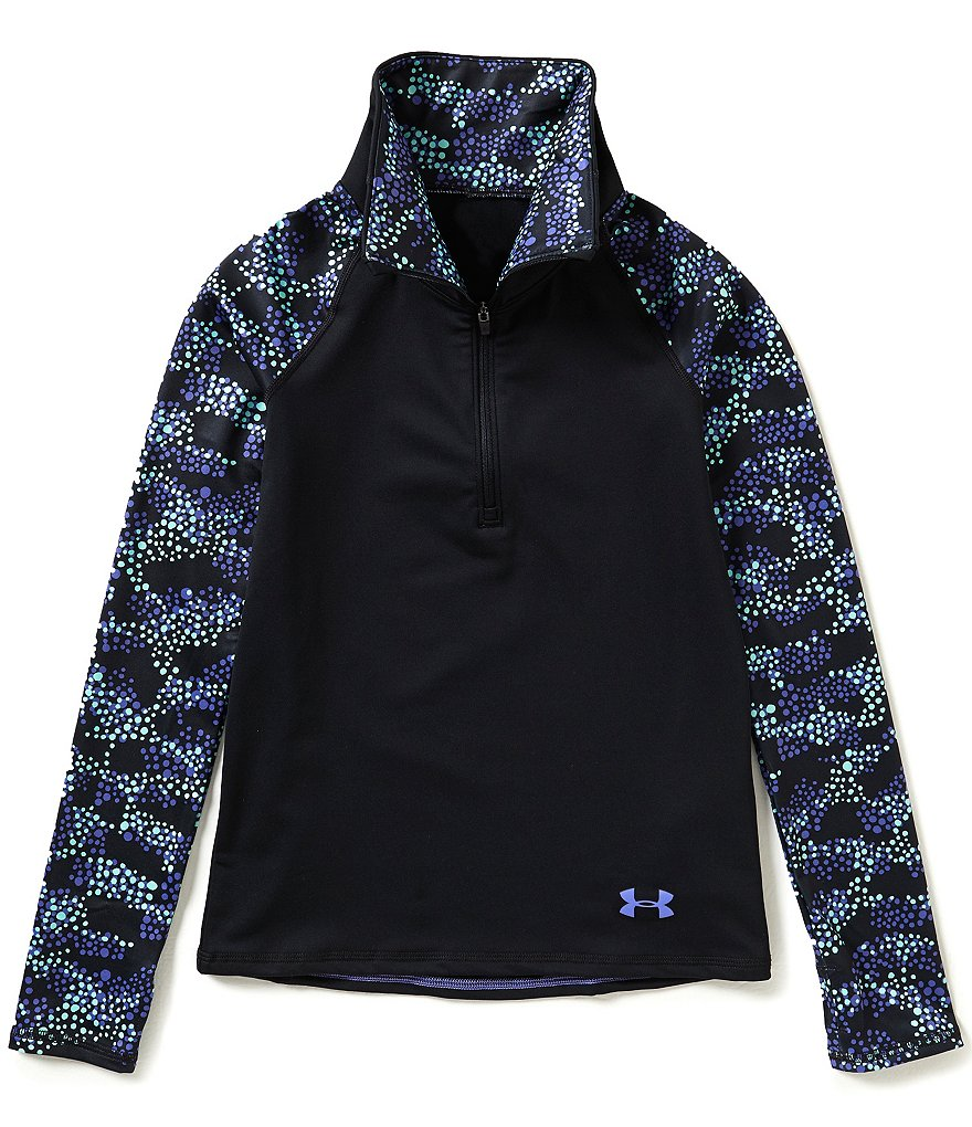 Under Armour ColdGear® Big Girls 7-16 Solid/Printed 1/2-Zip Tee
