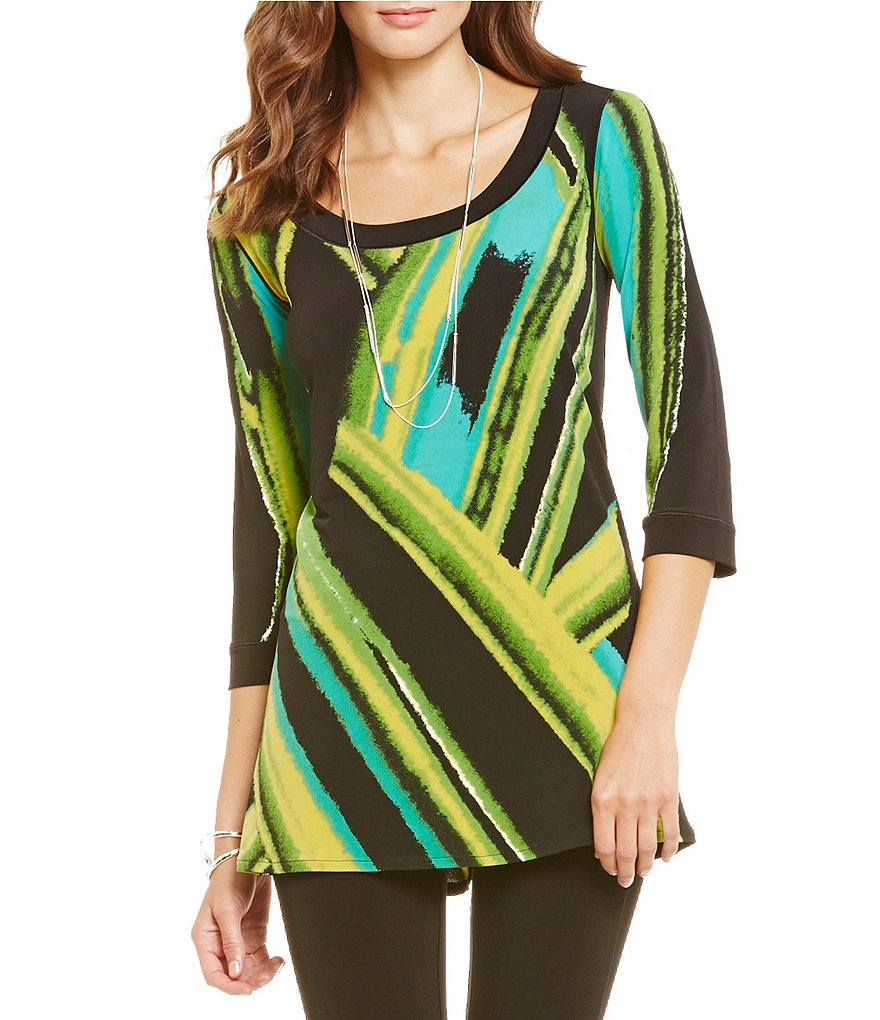 Eva Varro Scoop Neck Band 3/4 Sleeves Tunic