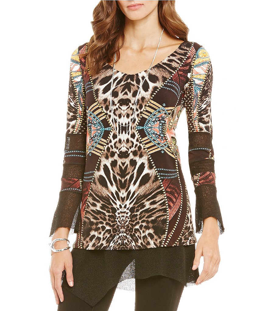Eva Varro Mesh Combo V-Neck Long Sleeve Tunic