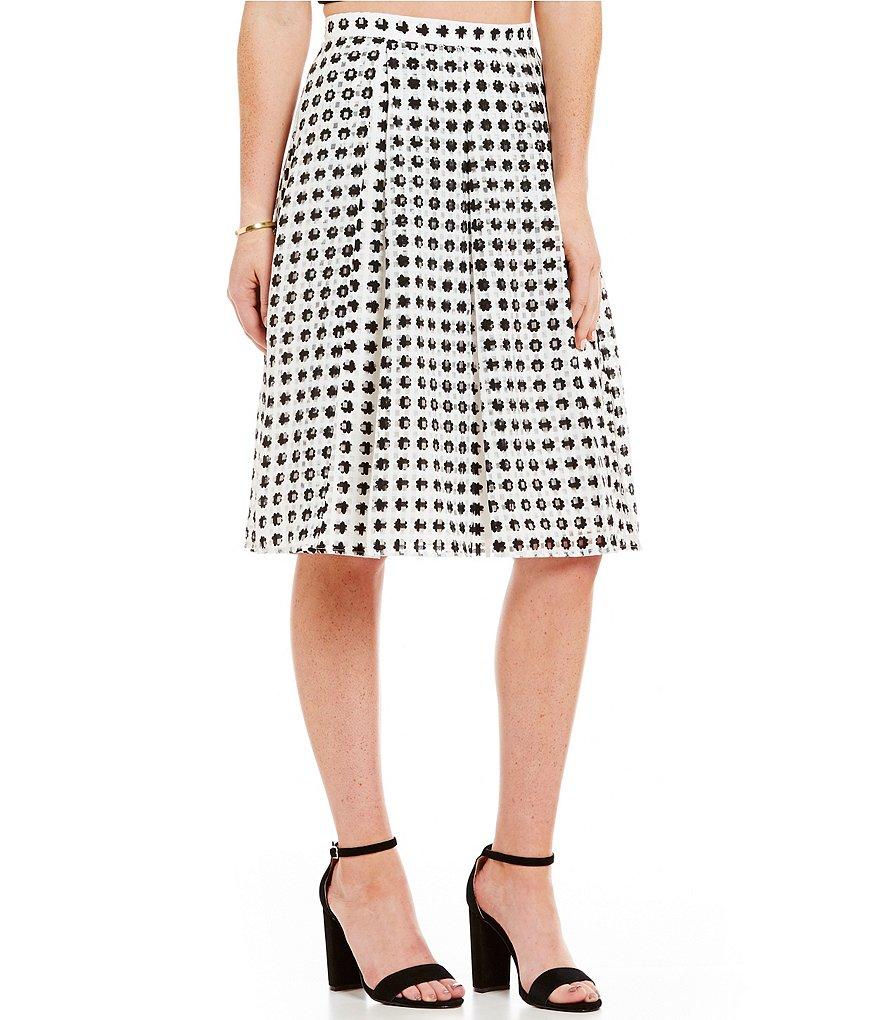 Soprano Shadow-Stripe Gingham Skirt