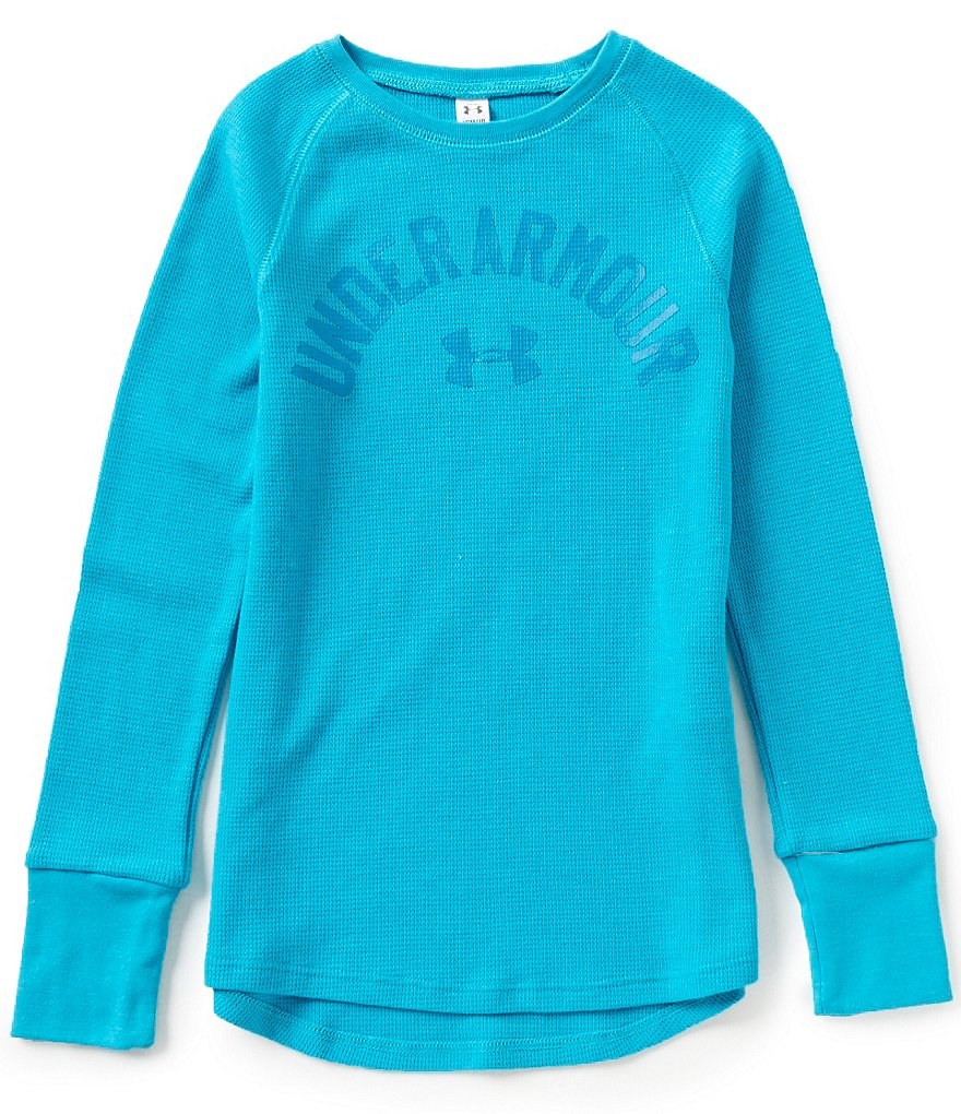 Under Armour Big Girls 7-16 Waffle-Knit Long-Sleeve Tee
