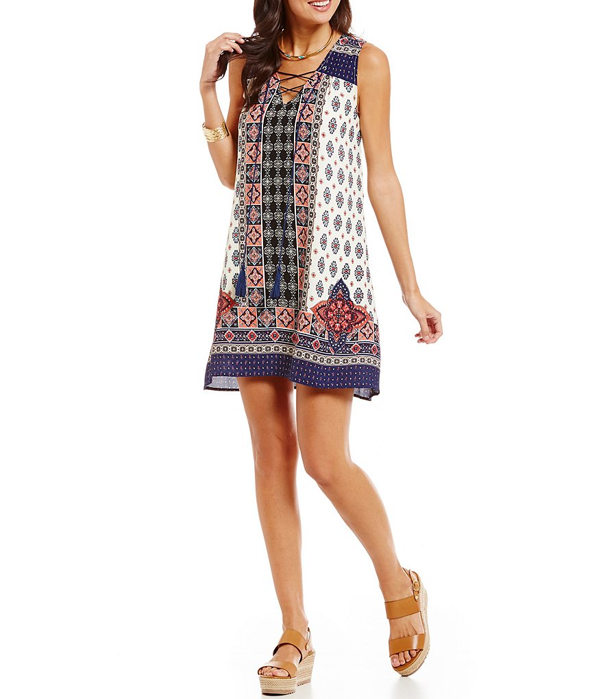 Blu Pepper Lace-up Printed Shift Dress