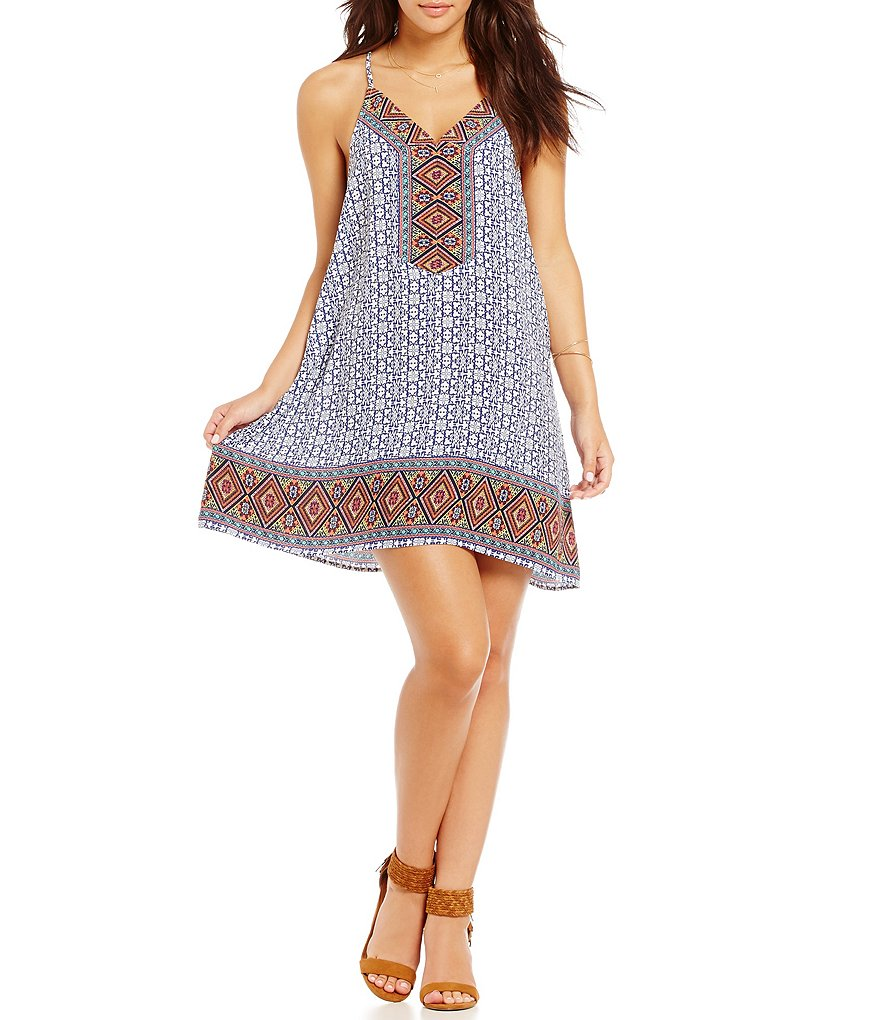 Blu Pepper Border Print Racerback Dress