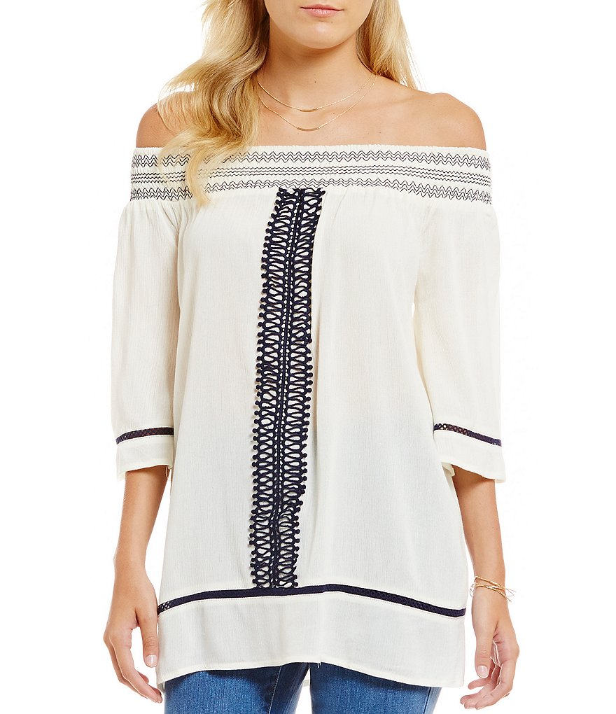 Blu Pepper Embroidered Off-The-Shoulder Top