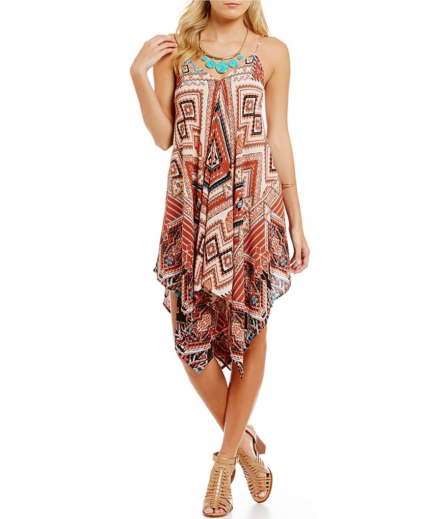 Blu Pepper Tribal Print Handkerchief Hem Dress