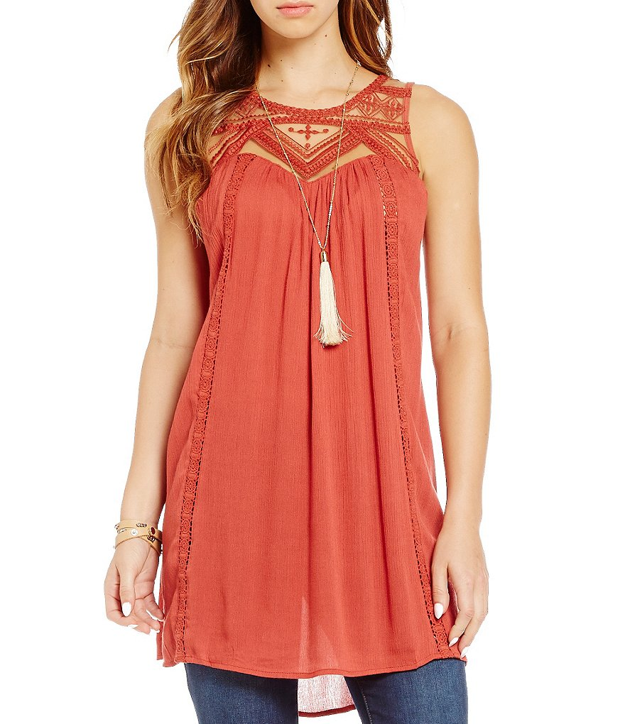 Blu Pepper Lace High Neck Tunic
