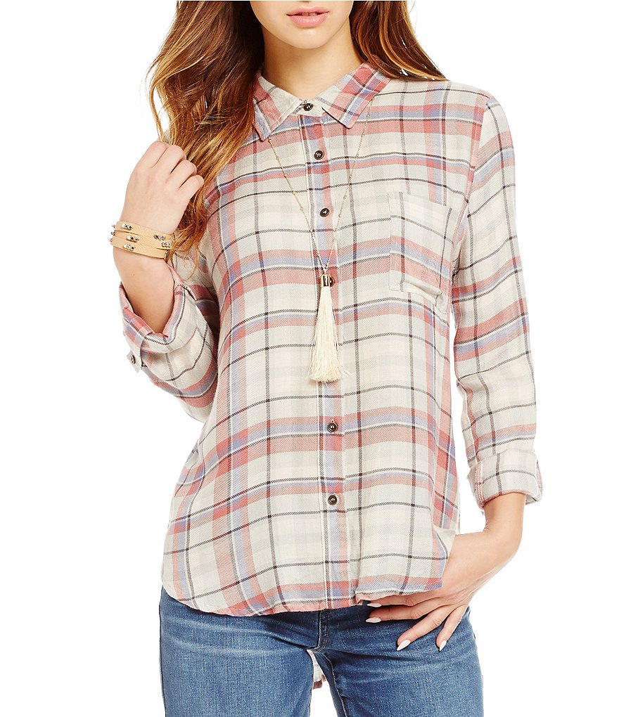 Blu Pepper Plaid Long-Sleeved Button-Down Top