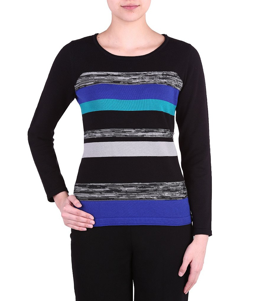 Allison Daley Wide Roll Neck Cable Front Printed Pullover