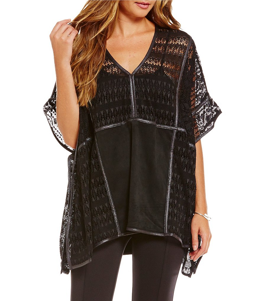 John Mark Lace & Faux Suede Poncho