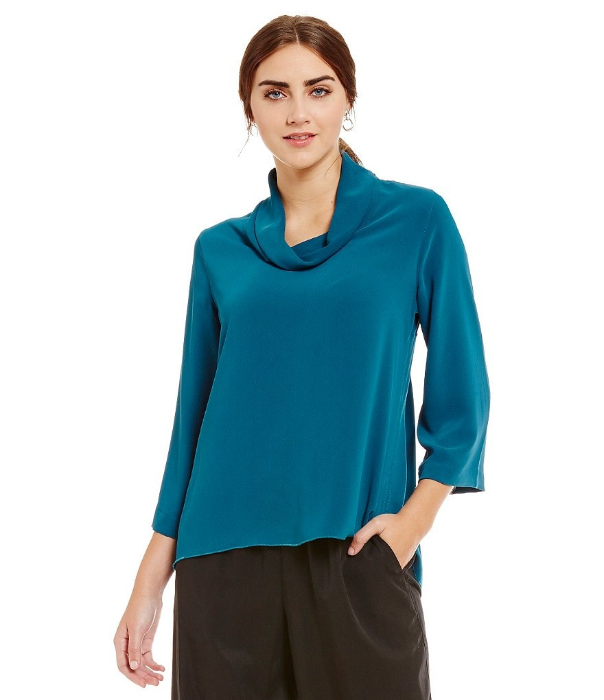 John Mark Funnel Neck 3/4 Bell Sleeve Hi-Low Tunic