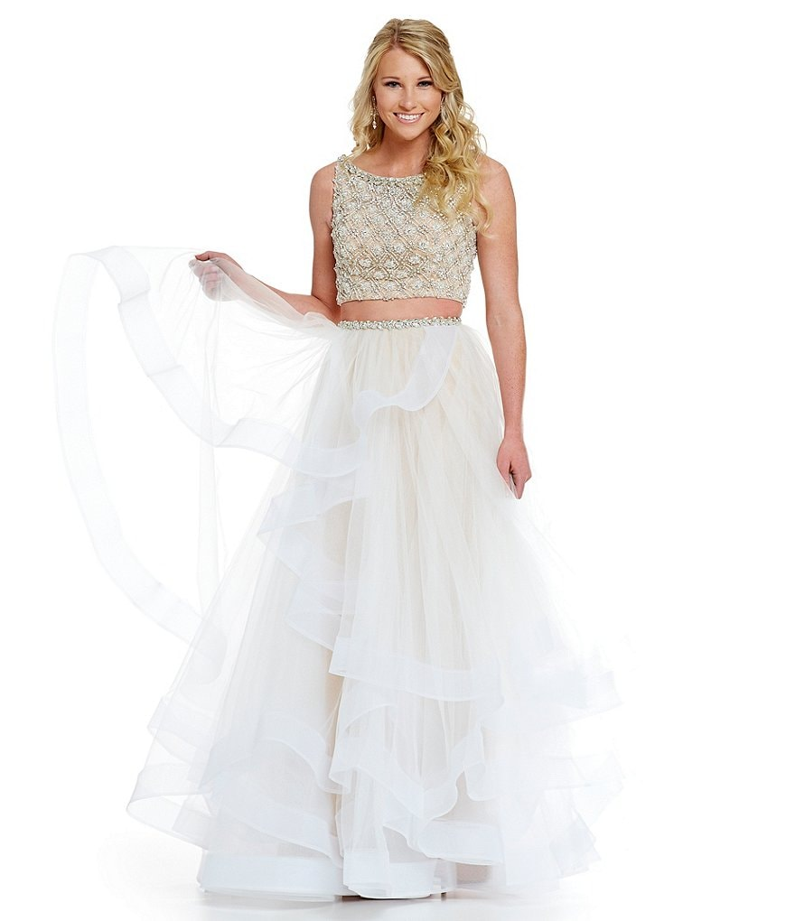 Glamour by Terani Couture Prom Layered Tulle Two-Piece Beaded Crop-Top Bodice Gown