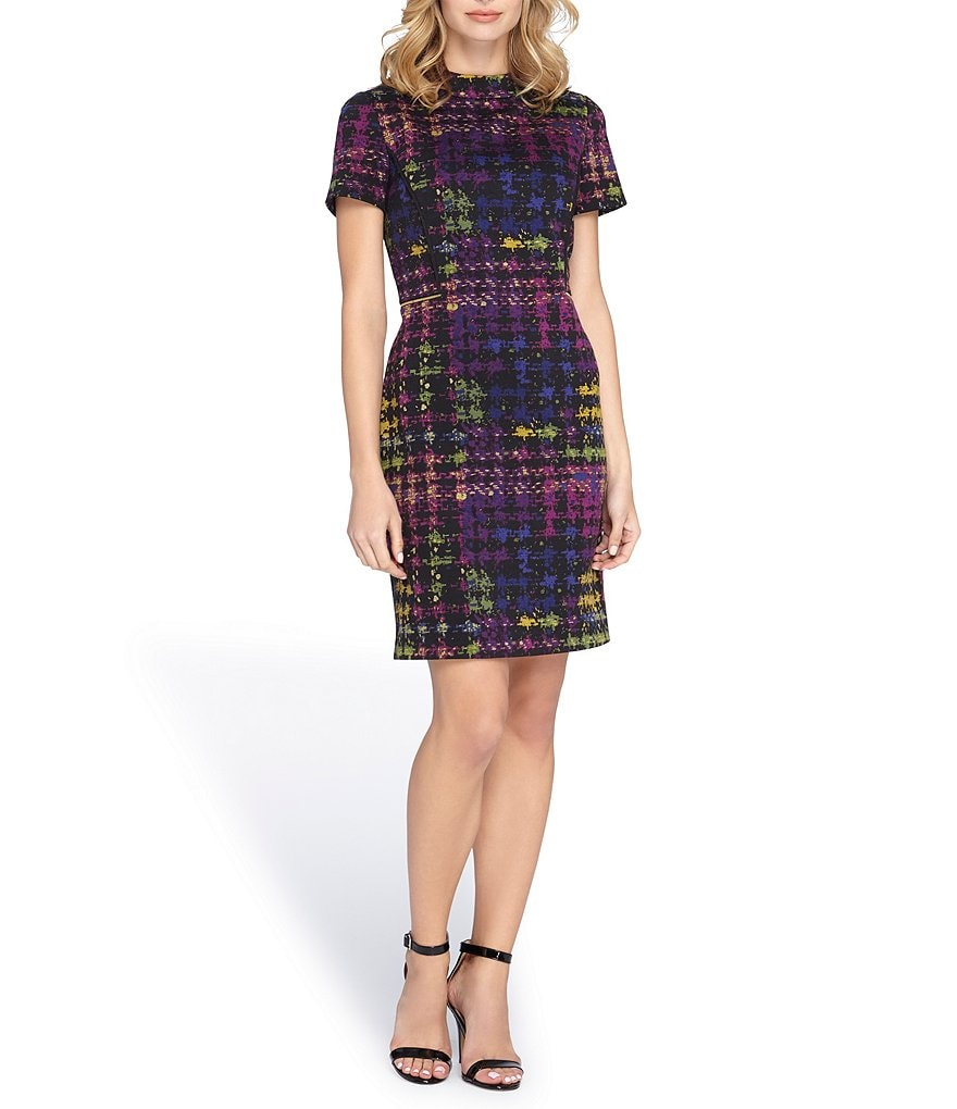 Tahari ASL Printed Ponte Sheath Dress