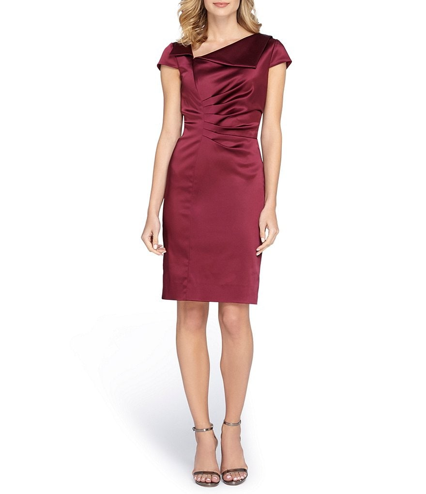 Tahari ASL Envelope Stretch Satin Dress