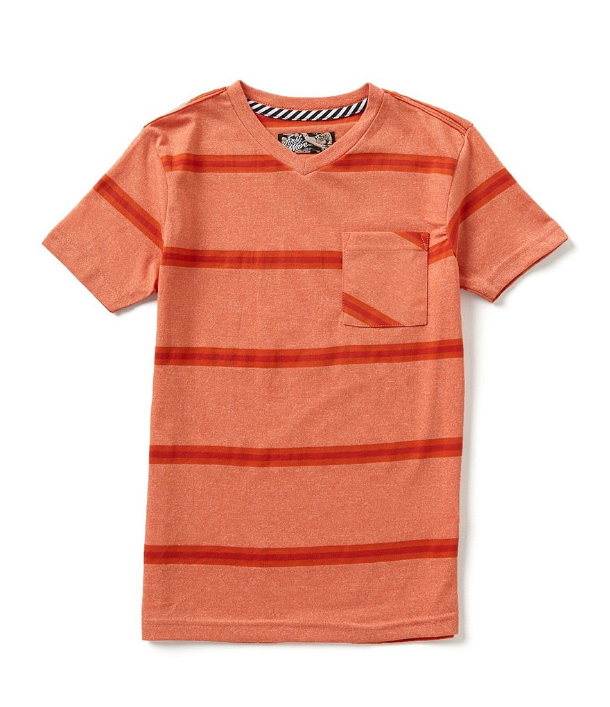 First Wave Big Boys 8-20 Striped V-neck Short-Sleeve Tee
