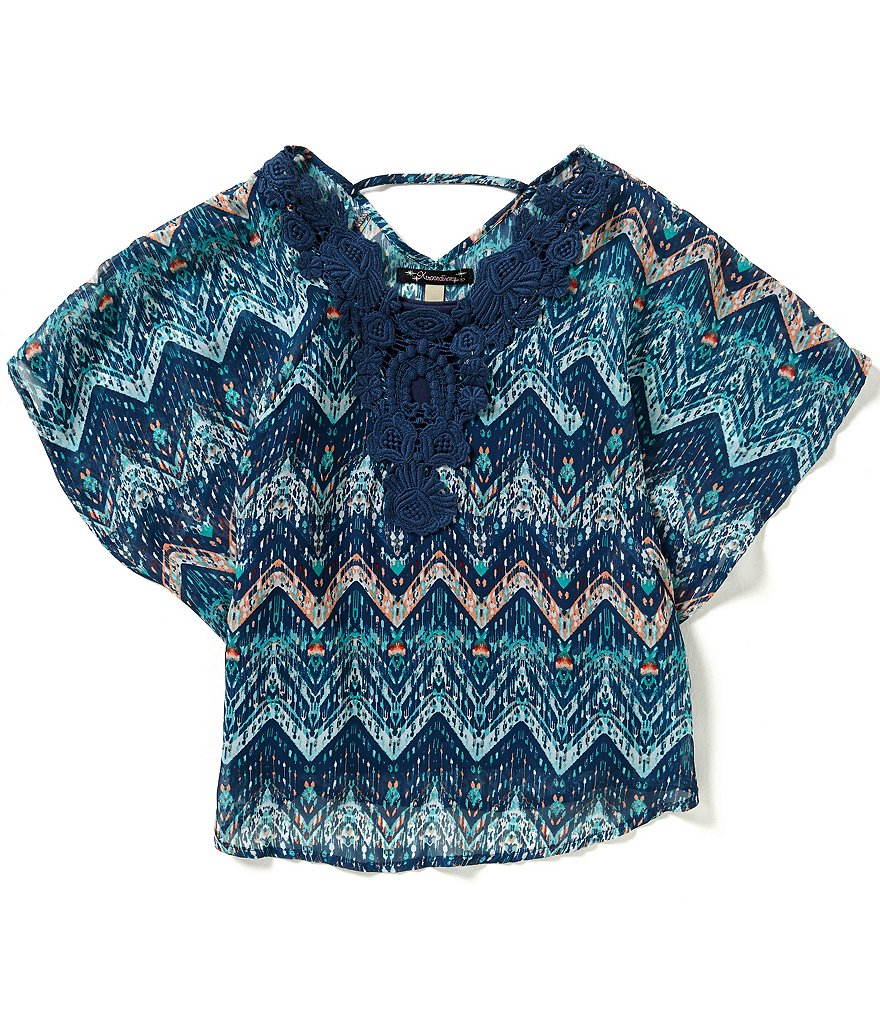 Xtraordinary Big Girls 7-16 Printed Crochet Trim Top