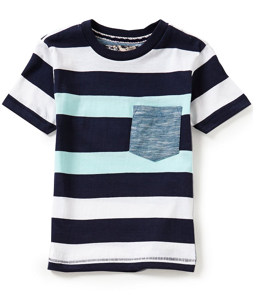 First Wave Little Boys 2T-7 Striped Short-Sleeve Pocket Tee