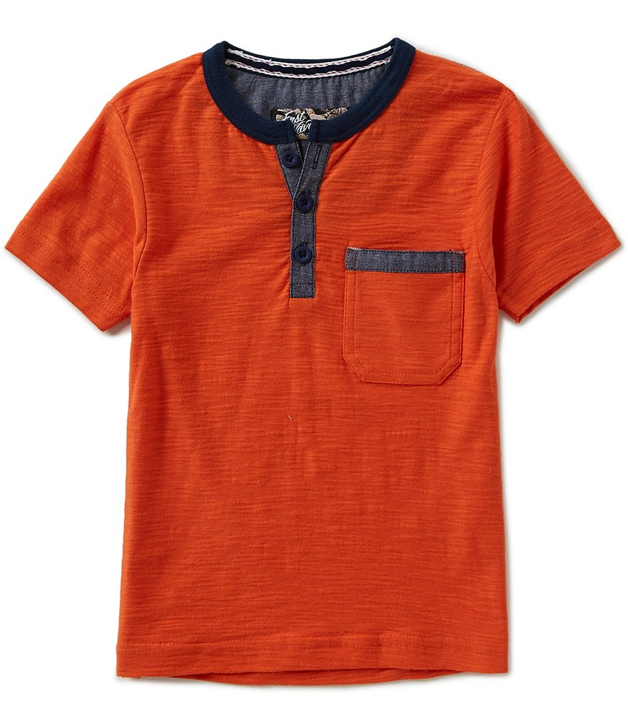 First Wave Little Boys 2T-7 Solid Henley Shirt