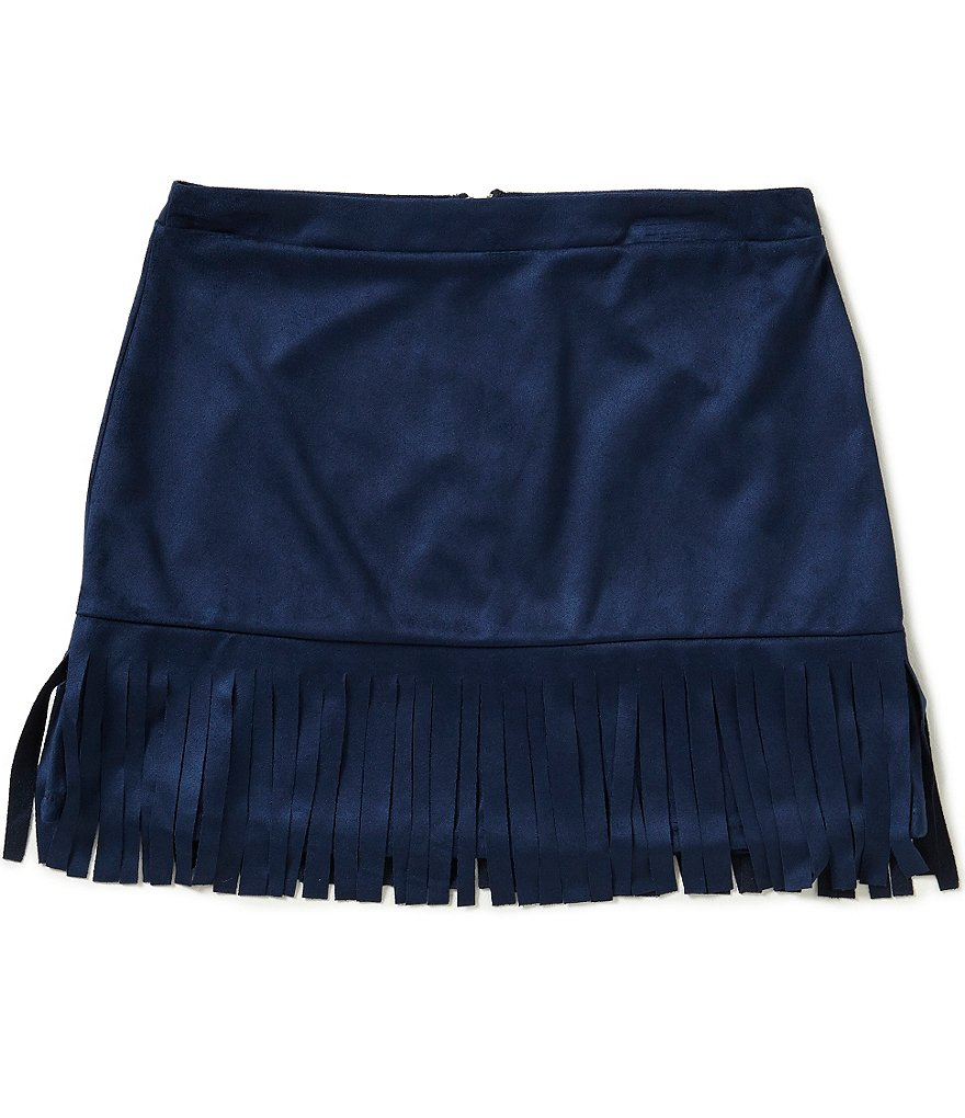 Xtraordinary Big Girls 7-16 Faux Suede Fringe Skirt