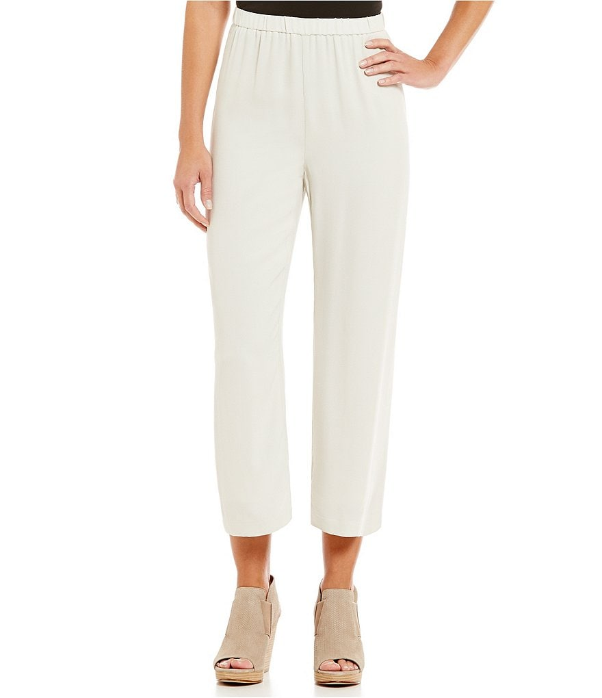 Eileen Fisher Cropped Silk Georgette Crepe Pants