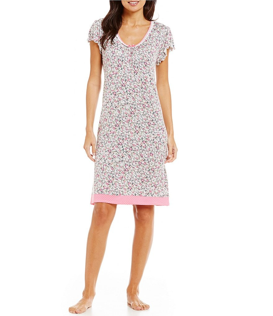 Miss Elaine Floral & Dotted Liquid-Knit Nightgown