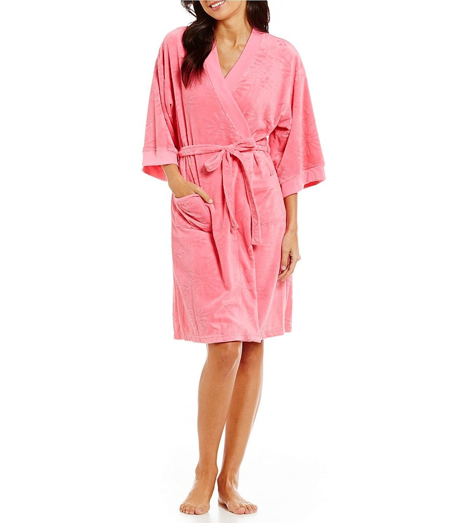 Miss Elaine Floral Micro Terry Wrap Robe