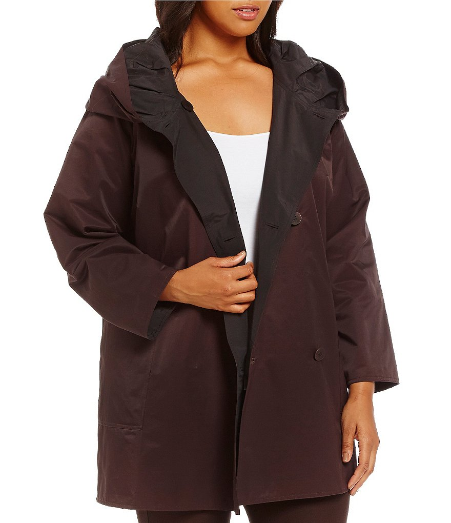 Eileen Fisher Plus Reversible Nylon Hood Knee Length Jacket