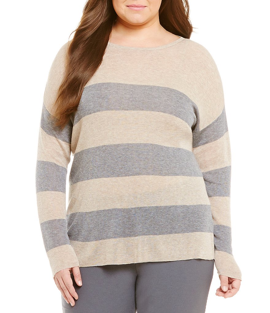 Eileen Fisher Plus Sleek Tencel Merino Rib Striped Box Top