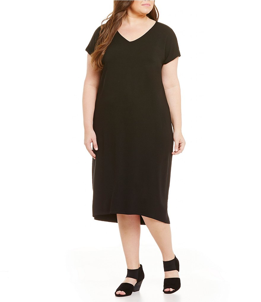 Eileen Fisher Plus V-Neck Calf Length Dress