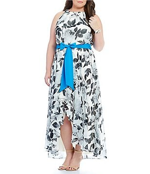 Eliza J Plus Floral-Print Halter Hi-Low Dress