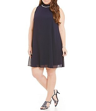 Eliza J Plus Pearl-Neck Sleeveless Chiffon Trapeze Shift Dress
