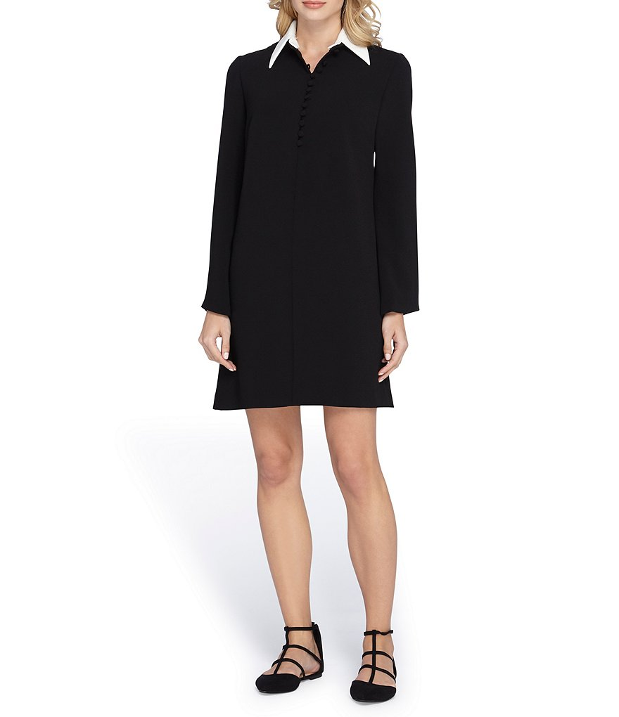Tahari ASL Collar Double Over A-Line Dress