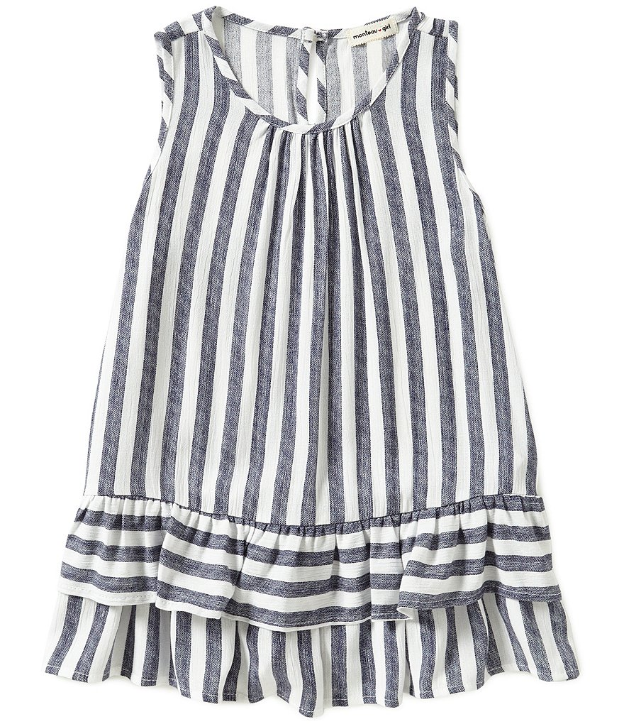 Monteau Girl Big Girls 7-16 Striped Ruffle Hem Tank