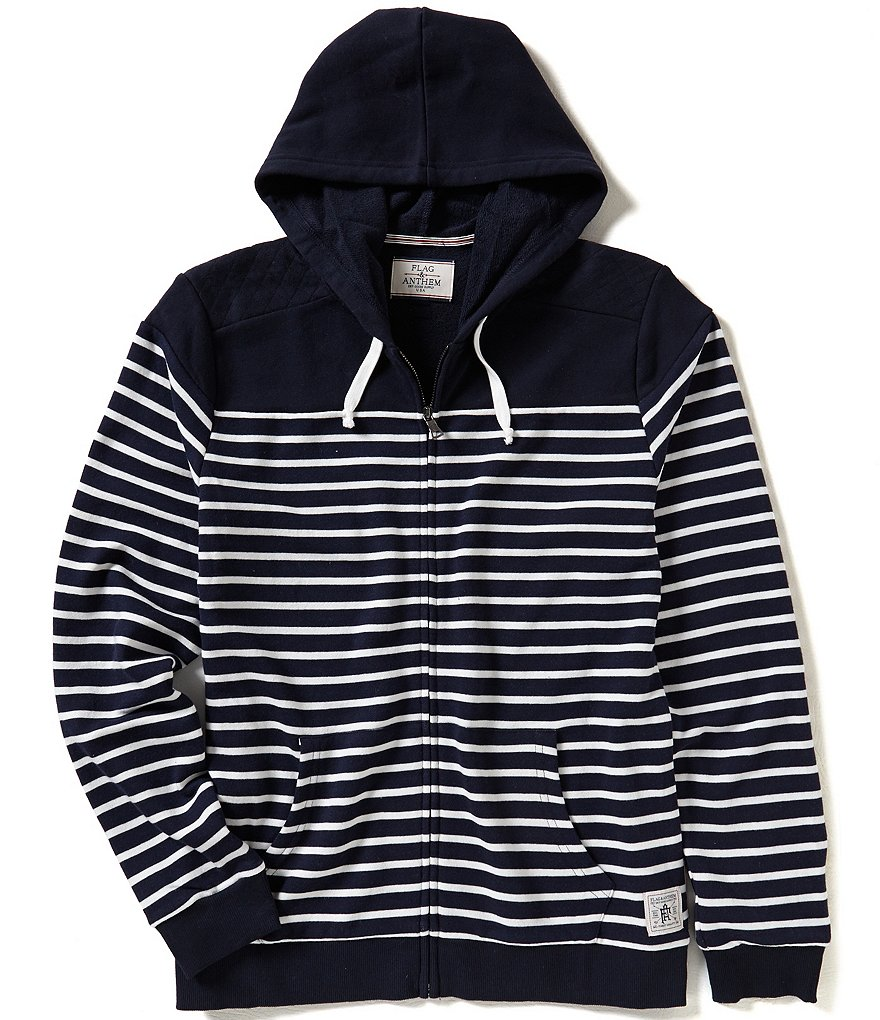 Flag & Anthem Newbury Horizontal-Striped/Color Block Zip-Front French Terry Hoodie