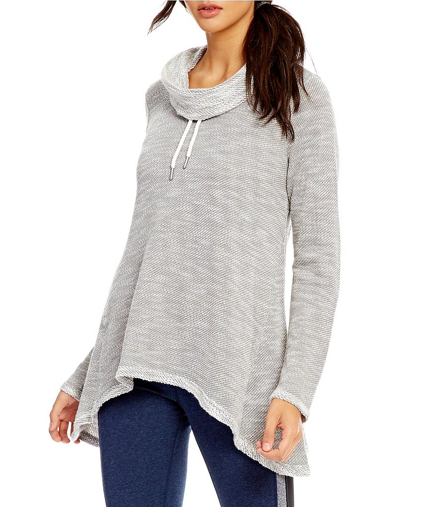 Calvin Klein Performance Cowl-Neck Sharkbite Hem French Terry Knit Tunic