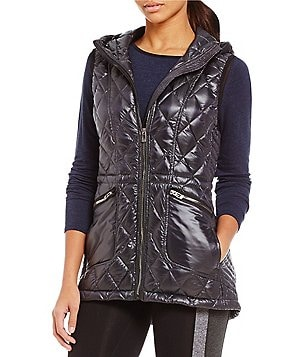 Calvin Klein Performance Stand Collar Down Filled Hooded Quilted Vest