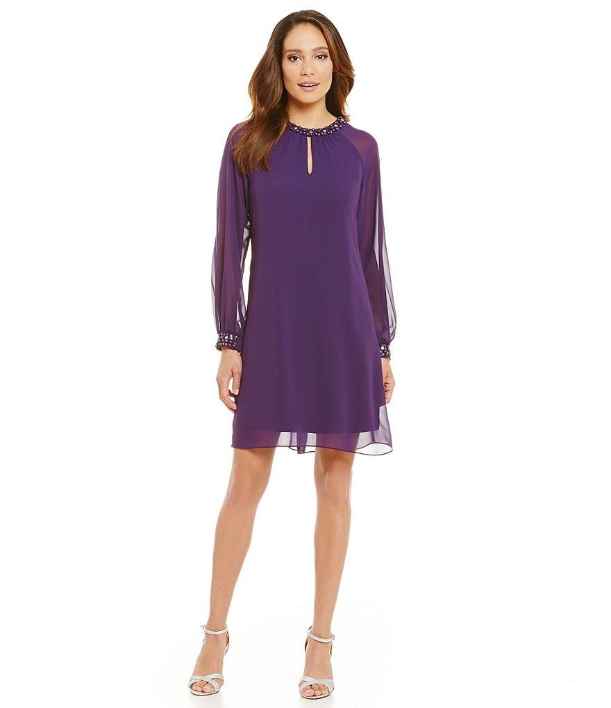 S.L. Fashions Long Sleeve Pearl Neck Shift Dress