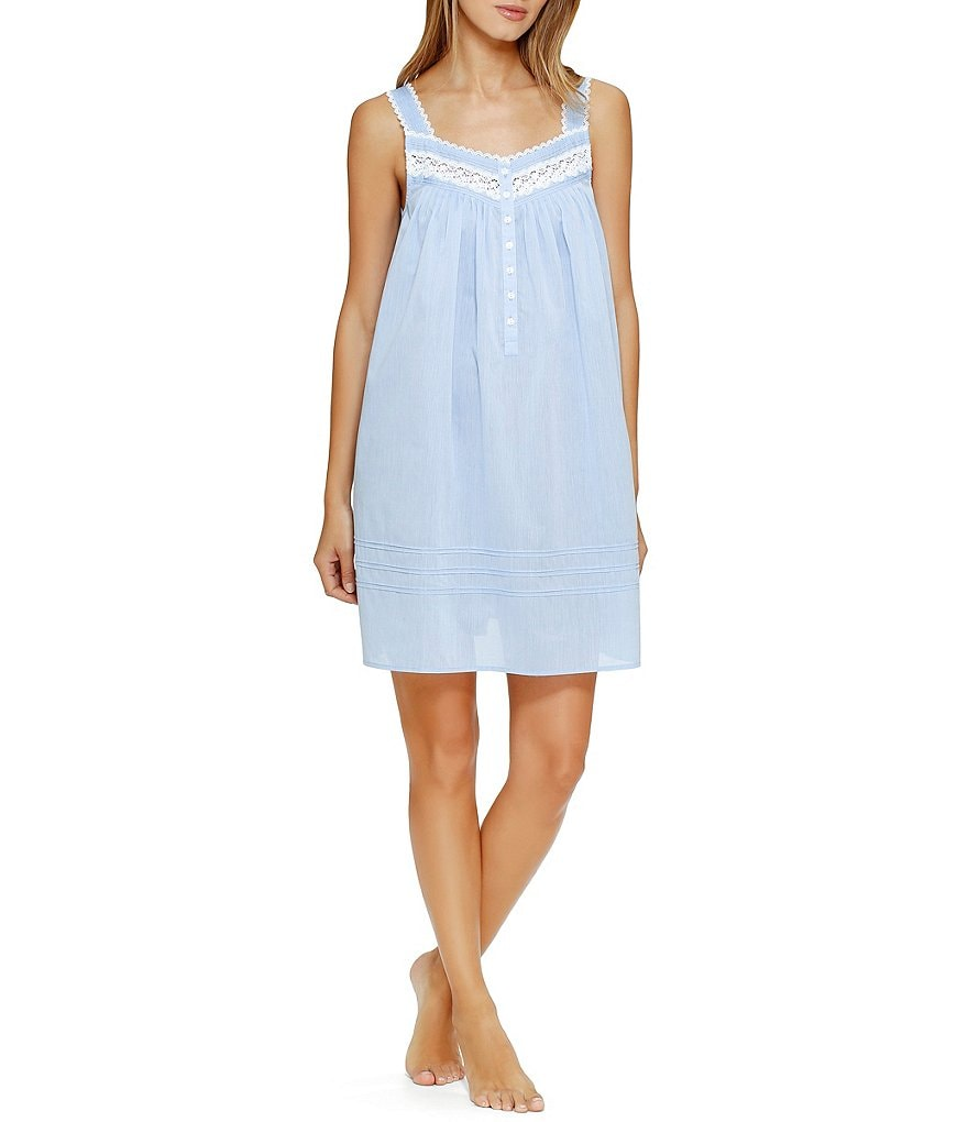 Eileen West Chambray Sleeveless Woven Short Gown