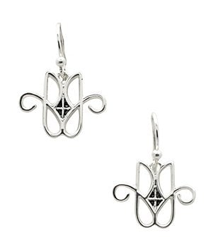 Calvary Sterling Silver J Scroll Drop Earrings
