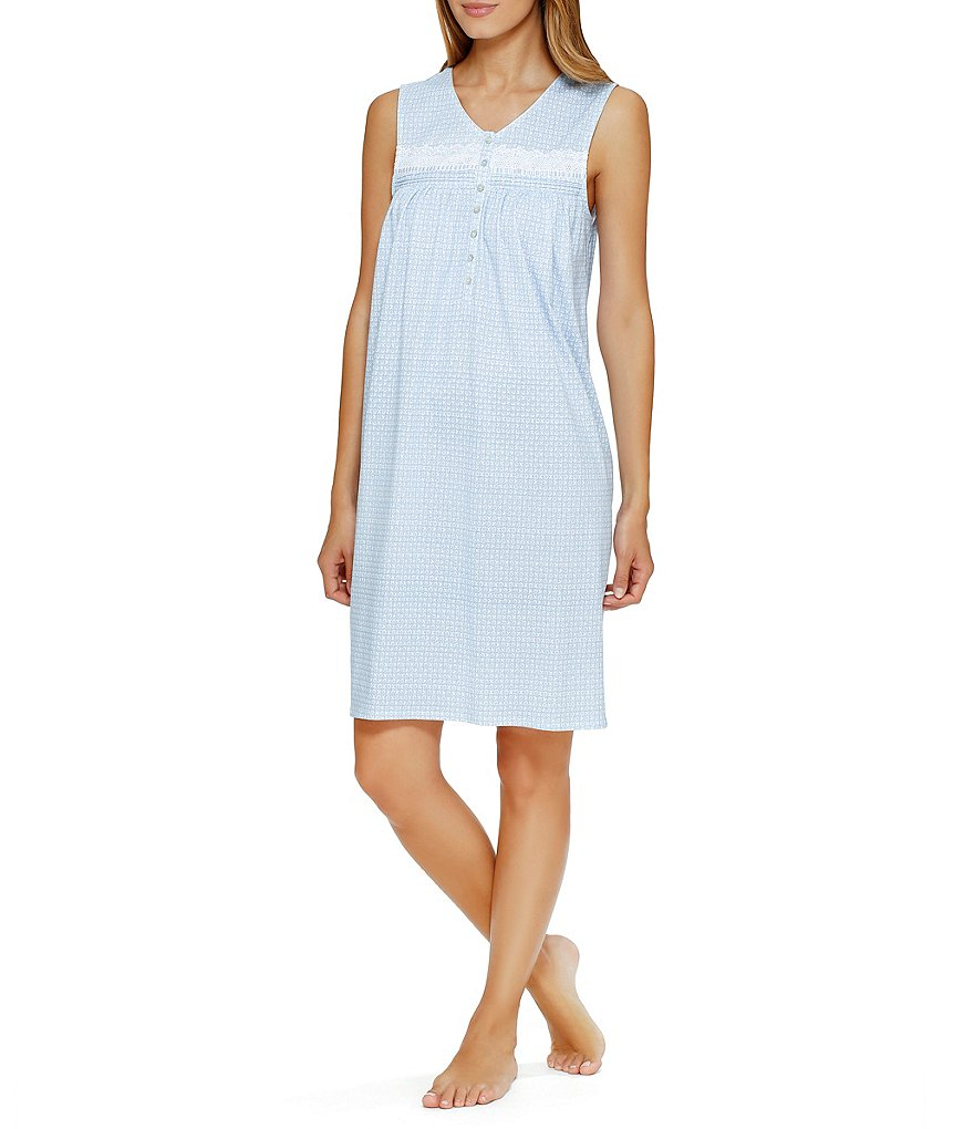 Eileen West Geo-Print Jersey Knit Nightgown