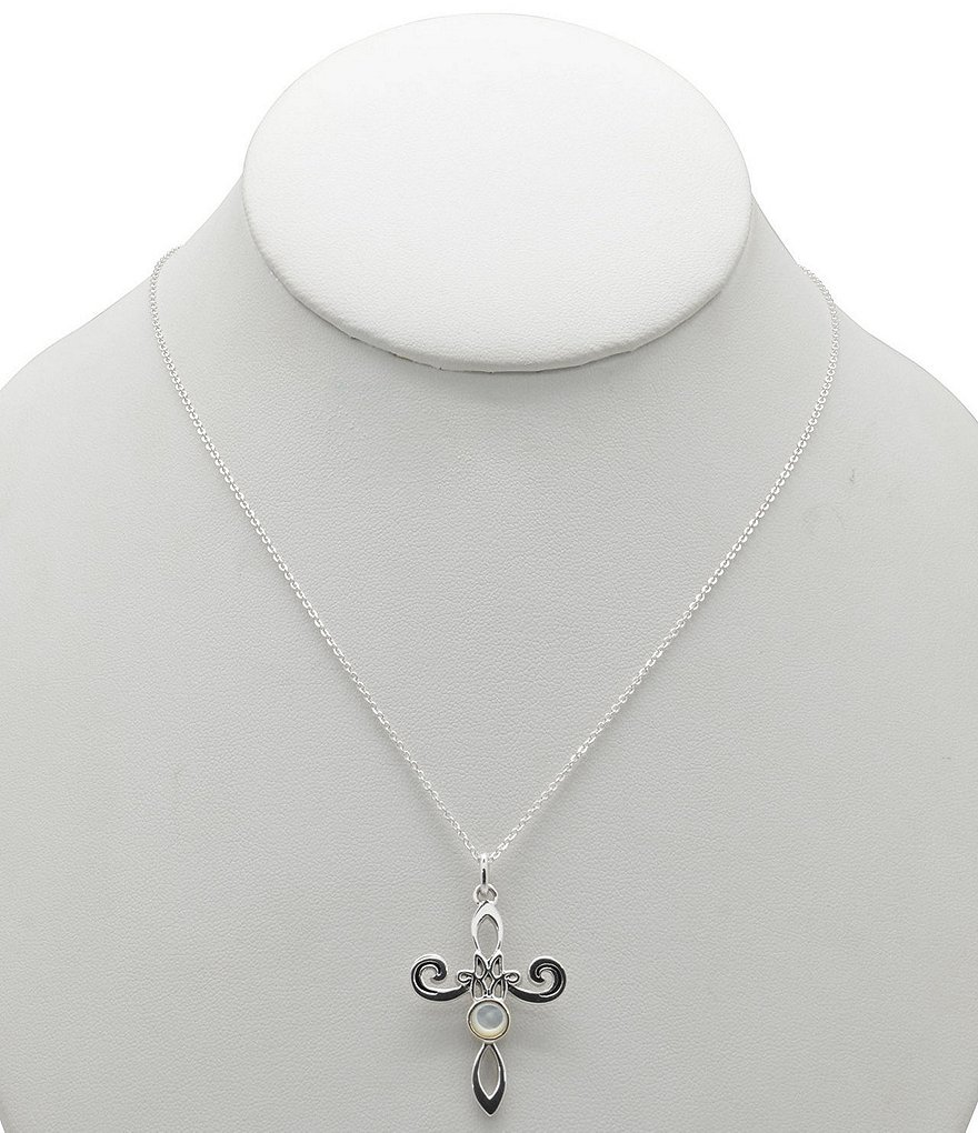 Calvary Sterling Silver & Mother-of-Pearl Cross Pendant Necklace