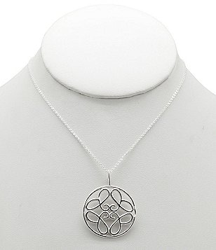 Calvary Sterling Silver J Scroll Circle Pendant Necklace
