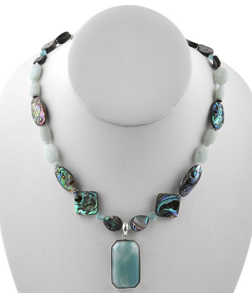 Calvary Abalone & Amazonite Beaded Stone Pendant Necklace